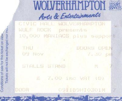 10000 Maniacs [9 Nov 1989] Wolverhampton Civic Hall