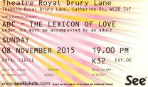 Stub - ABC [8 Nov 2015] - London Drury Lane Theatre