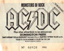 Stub - AC-DC [22 Aug 1980] Donnington Monsters of Rock