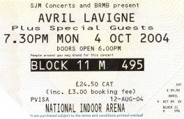 Stub - Avril Lavigne [4 Oct 2004] Birmingham NIA