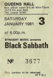 Black Sabbath [24 Jan 1981] Leeds Queen's Hall