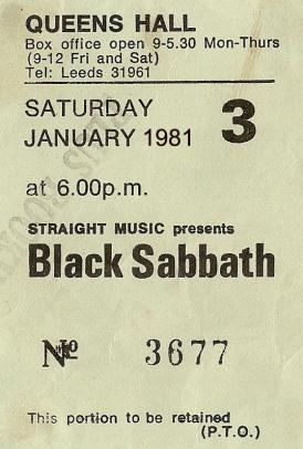 Stub - Black Sabbath [24 Jan 1981] Leeds Queen's Hall