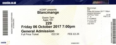 Stub - Blancmange [6 Oct 2017] 229 club