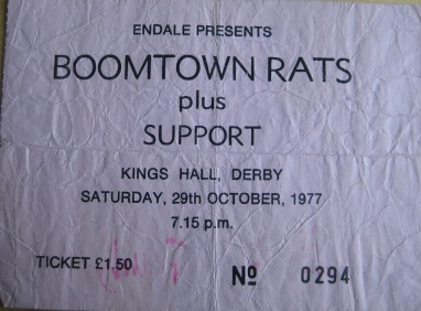 Stub - Boomtown Rats [29 Oct 1977] Derby King's Hall