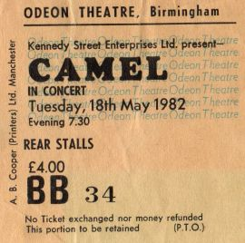Stub - Camel [18 May 1982] Birmingham Odeon