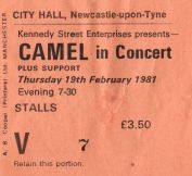 Stub - Camel [19 Feb 1981] Newcastle City Hall