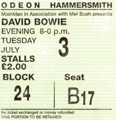Stub - David Bowie [3 July 1973] London Hammersmith Odeon example