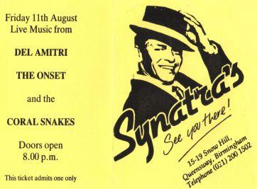 Stub - Del Amitri [11 Aug 1989] Birmingham Synatras