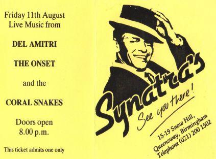 Del Amitri [11 Aug 1989] Birmingham Synatras