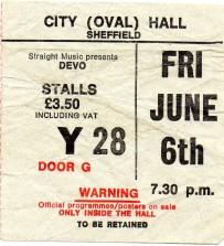 Stub - Devo [6 Jun 1980] Sheffield City Hall