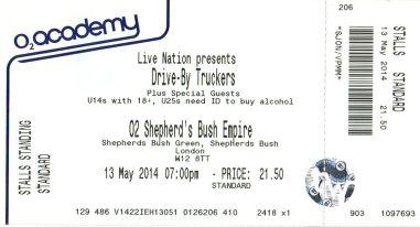 Stub - Drive By Truckers [13 May 2014] London Sheperd's Bush Empire