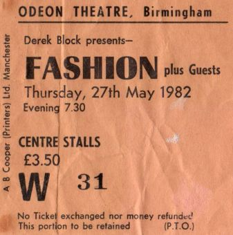 Stub - Fashion [27 May 1982] Birmingham Odeon