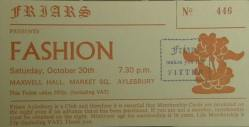 Stub - Fashion [30 October 1982] Aylesbury Friars
