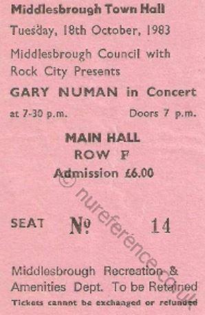 Gary Numan Stub - Gary Newman [18 Oct 1983] Middlesbrough Town Hall
