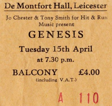 Stub - Genesis [15 Apr 1980] Leicester DeMontford Hall