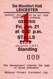Stub - Genesis [21 Jan 1977] Leicester DeMontford Hall