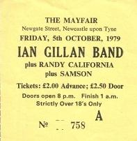 Stub - Gillan [5 Oct 1979] Newcastle Mayfair