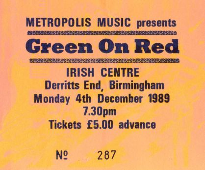 Stub - Green On Red [4 Dec 1989] Birmingham Irish Centre