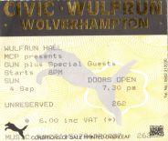 Stub - Gun [4 Sep 1994] Wolverhampton Civic Hall