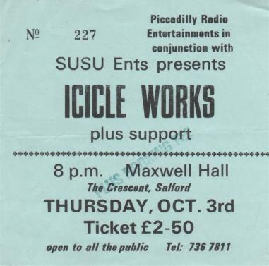 Stub - Icicle Works [3 Oct 1985] Salford University