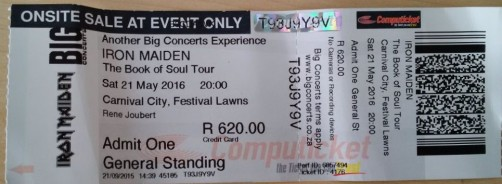 Stub - Iron Maiden [21 May 2016] Johannesburg