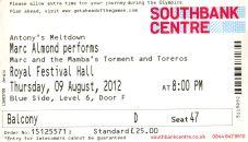 Stub - Marc Almond [9 Aug 2012] London Royal Festival Hall