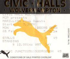 Stub - Marillion [28 Feb 1984] Wolverhampton Civic Hall