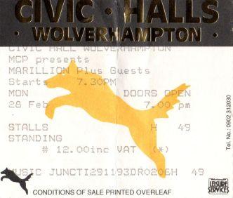 Marillion [28 Feb 1994] Wolverhampton Civic Hall