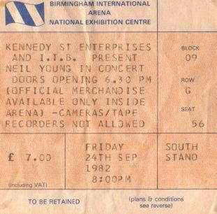 Stub - Neil Young [24 Sep 1982] Birmingham NEC