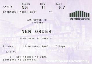 Stub - New Order [27 Oct 2007] London Wembley Arena
