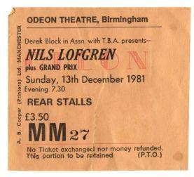 Stub - Nils Lofgren [13 Dec 1981] Birmingham Odeon