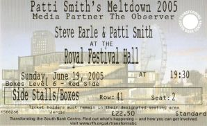 Stub - Patti Smith & Steve Earle [19 Jun 2005] London Royal Festival Hall