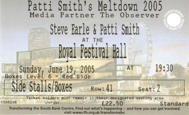 Patti Smith and Steve Earle [19 Jun 2005] London Royal Festival Hall
