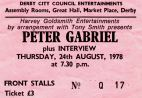 Stub - Peter Gabriel [24 Aug 1978] Derby Assembly Rooms