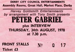 Peter Gabriel [24 Aug 1978] Derby Assembly Rooms