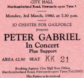 Stub - Peter Gabriel [3 Mar 1980] Newcastle City Hall