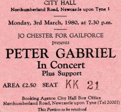 Peter Gabriel [3 Mar 1980] Newcastle City Hall