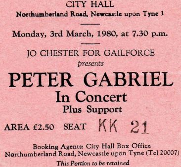 Peter Gabriel [3 Mar 1980] Newcastle City Hall