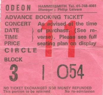 Stub - Queen[26 Dec 1979] London Hammersmith Odeon example