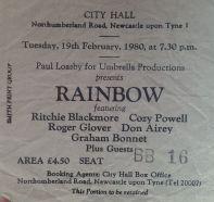 Stub - Rainbow - [19 Feb 1980] Newcastle City Hall