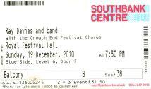 Stub - Ray Davies [19 Dec 2010] London Royal Festival Hall