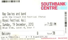Ray Davies [19 Dec 2010] London Royal Festival Hall