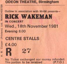 Stub - Rick Wakeman [18 Nov 1981] Birmingham Odeon