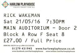 Stub - Rick Wakeman [21 May 2016] Harlow Playhouse