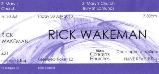 Rick Wakeman [30 July 2010] Bury St Edmunds