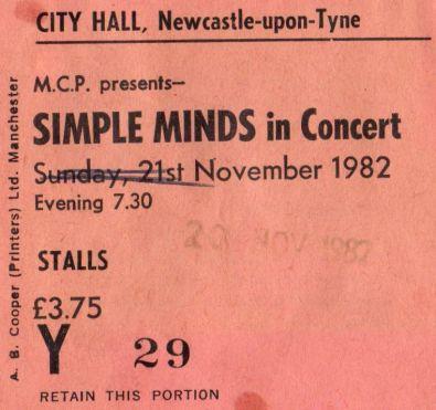 Stub - Simple Minds [20 Nov1982] Newcastle City Hall