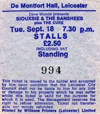 Siouxsie & the Banshees & Cure [18 Sep1979] Leicester DeMontfort Hall