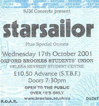 Stub - Starsailor [17 Oct 2001] Oxford Brookes Student Union