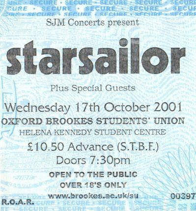 Starsailor [17 Oct 2001] Oxford Brookes Student Union