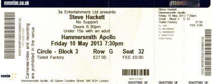 Stub - Steve Hackett - [10 May 2013] Hammersmith Apollo London